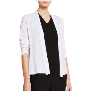 Eileen Fisher White Cotton Cardigan Sweater